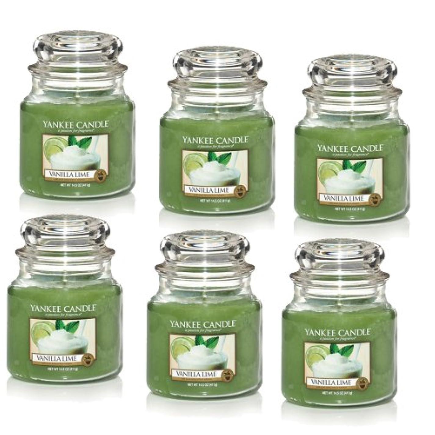 地味なタイピスト満員Yankee CandleバニラライムM Jar 14.5oz Candle Set of 6 1107077X6