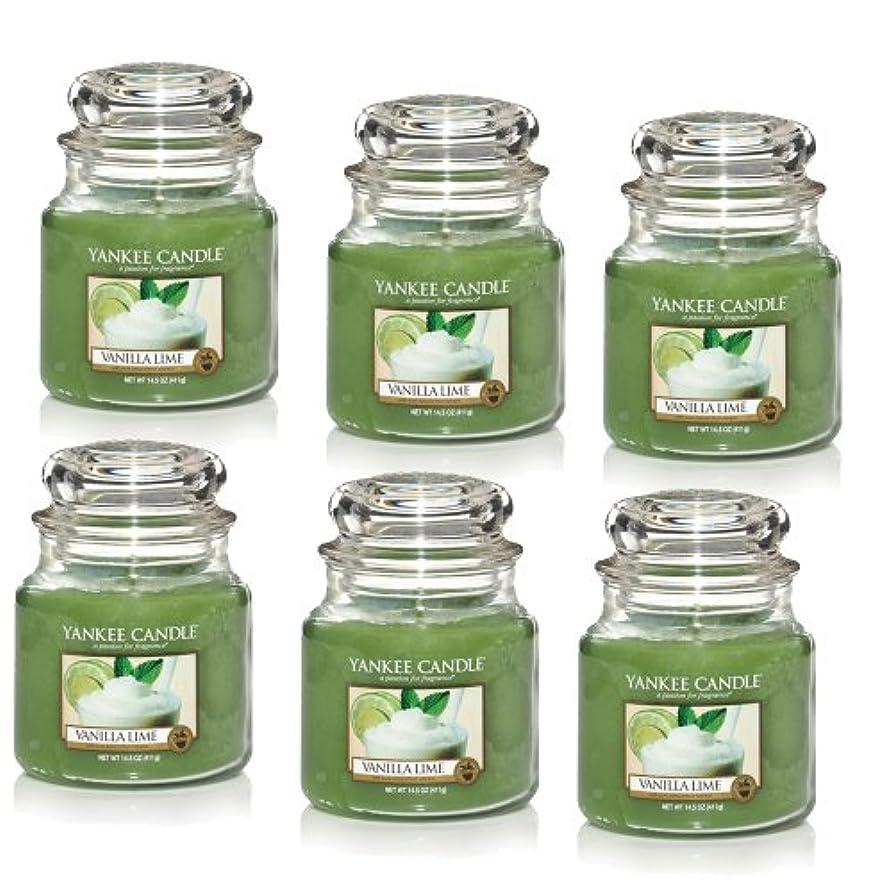 韓国オリエンテーション扱うYankee CandleバニラライムM Jar 14.5oz Candle Set of 6 1107077X6