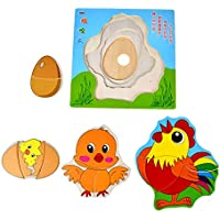 木製Growing Up Animals Butterfly Duck Chickenパズル教育玩具 123