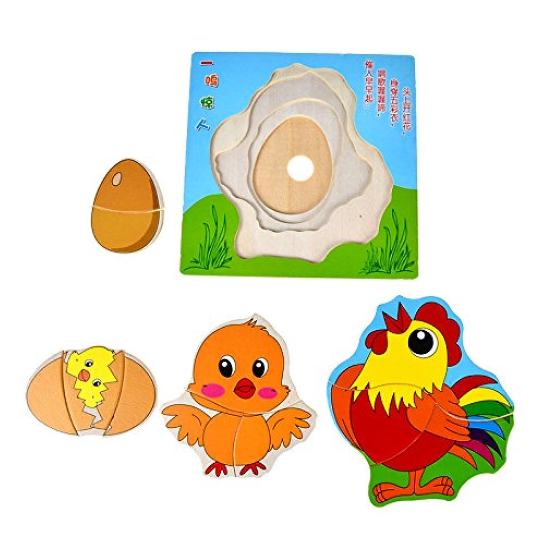 木製Growing Up Animals Butterfly Duck Chickenパズル教育玩具 123