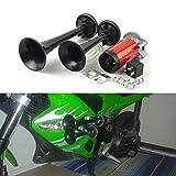 STARDUST 爆音 110DB 12V 2連ホーン 汎用 (ブラック) バイク 車 SD-BSD-3