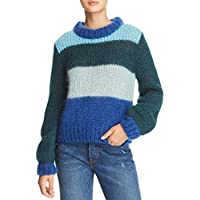 Rebecca Minkoff Women's Stripe Chunky Knit Jewel Sweater, Blue Multi, XXS