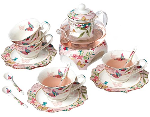 Floris 桜と蝶のかわいい ティーポット&ティーカップ セット 580m...