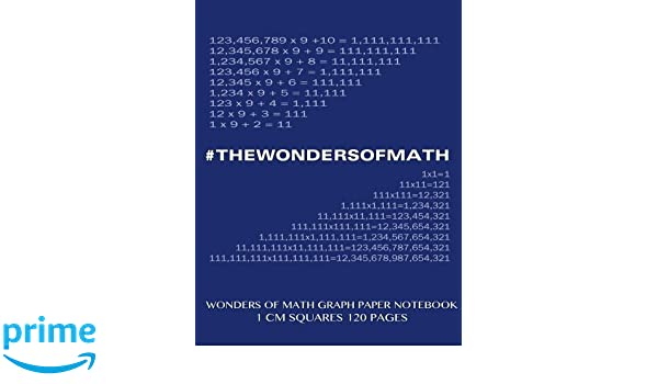 amazon wonders of math graph paper notebook 120 pages with 1 cm