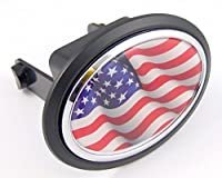 """USA American States Flag Hitchカバーキャップ2""""受信機ブラックwithクローム&ドーム"""