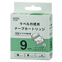 OHM テプラPRO用 互換ラベル テープカートリッジ 9mm 緑テープ 黒インク TC-K9G 01-3820