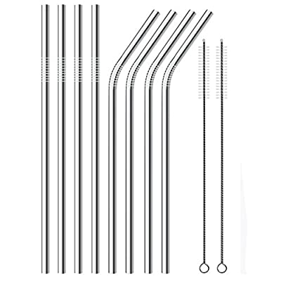 Stainless Steel Drinking Straws , Reusable Metal Drinking Straws Set of 8 with 2 Free Cleaning Brush Included