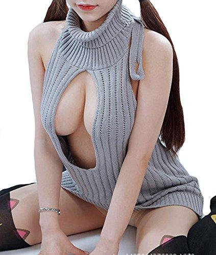 胸開け 薄手 編み物 ニット 背中あき 袖なし カットソー大胆 バックレス ノースリーブ コスプレ