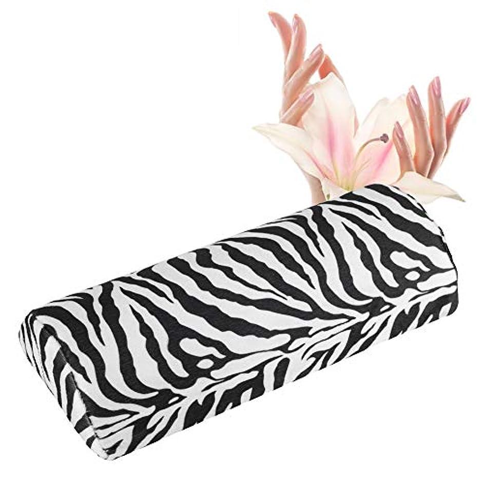 美容師プライム証明ネイルハンド枕カバー、シマウマストライプ、ネイル枕、ソフトスポンジ、サロンネイルツール 腕枕 腕マクラ 腕置き
