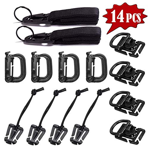 Dリング MOLLE対応 360 回転 Dリング 高強度軽量 プラスチック パックなどのベルトまとめ用 便利グッズ アルミ合金 カラビナキー,キーホルダー、ロック吊り アウトドア用 パック用(14個セット)