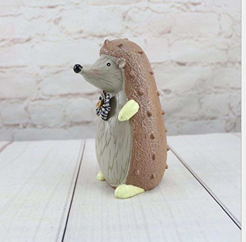 HuaQingPiJu-JP 漫画動物ピギーバンク創造的な子供の誕生日ギフトレジンの装飾品(ヘッジホッグ)