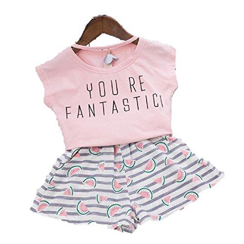 (AngelKids)半そでTシャツ&ショートパンツセットアップキッズ子供服ピンクスイカ模様(120�p)…
