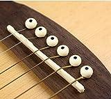 ETGtek(TM) アコースティックギタークリームブラックドットとブリッジピン(6パック)