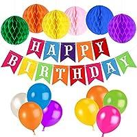 unomor誕生日デコレーションforパーティーSuppliesでカラフルなHappy誕生日バナーバルーン Birthday Decorations Unomor