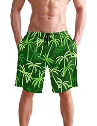 VAWA 水着 メンズ サーフパンツ おしゃれ ビーチパンツ 海水パンツ 短パン 吸汗速乾 大きいサイズ 水陸両用 葉柄 熱帯風 ココシの木柄