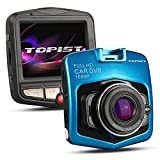 Topist ドライブレコーダー 1080p 120度広角防犯カメラ カー用品 録画 コンパクトドライブレコーダー pcカメラ、Webカメラとして使えます (ブルー)