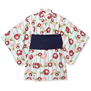 [タキヒヨー] ストライプ花柄浴衣風ワンピース ガールズ 342447210 サックス 日本 130 (日本サイズ130 相当)