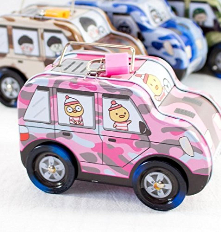 HuaQingPiJu-JP 子供のための新しい車輪付き車ピギーバンクティンプレートピギーバンクギフト(ピンク)