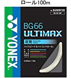 ヨネックス(YONEX) バドミントン ストリング BG66 ULTIMAX  ロール100m  メタリックホワイト BG66UM-1