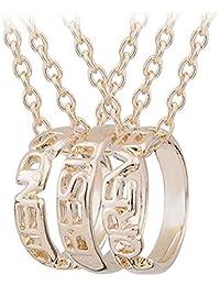 3 Pcs Best Friends Forever Engraved Ring Pendant Charm Necklace Set