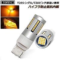 TOPINC T20シングル LEDウインカーランプ アンバー オレンジ T20 LEDバルブ ノーマル球 7440 LEDウインカー ハイフラ防止抵抗内蔵 アルミヒートシンク SMDチップ×66 無極性 12V専用 2個セット 1年保証 (T20シングル)