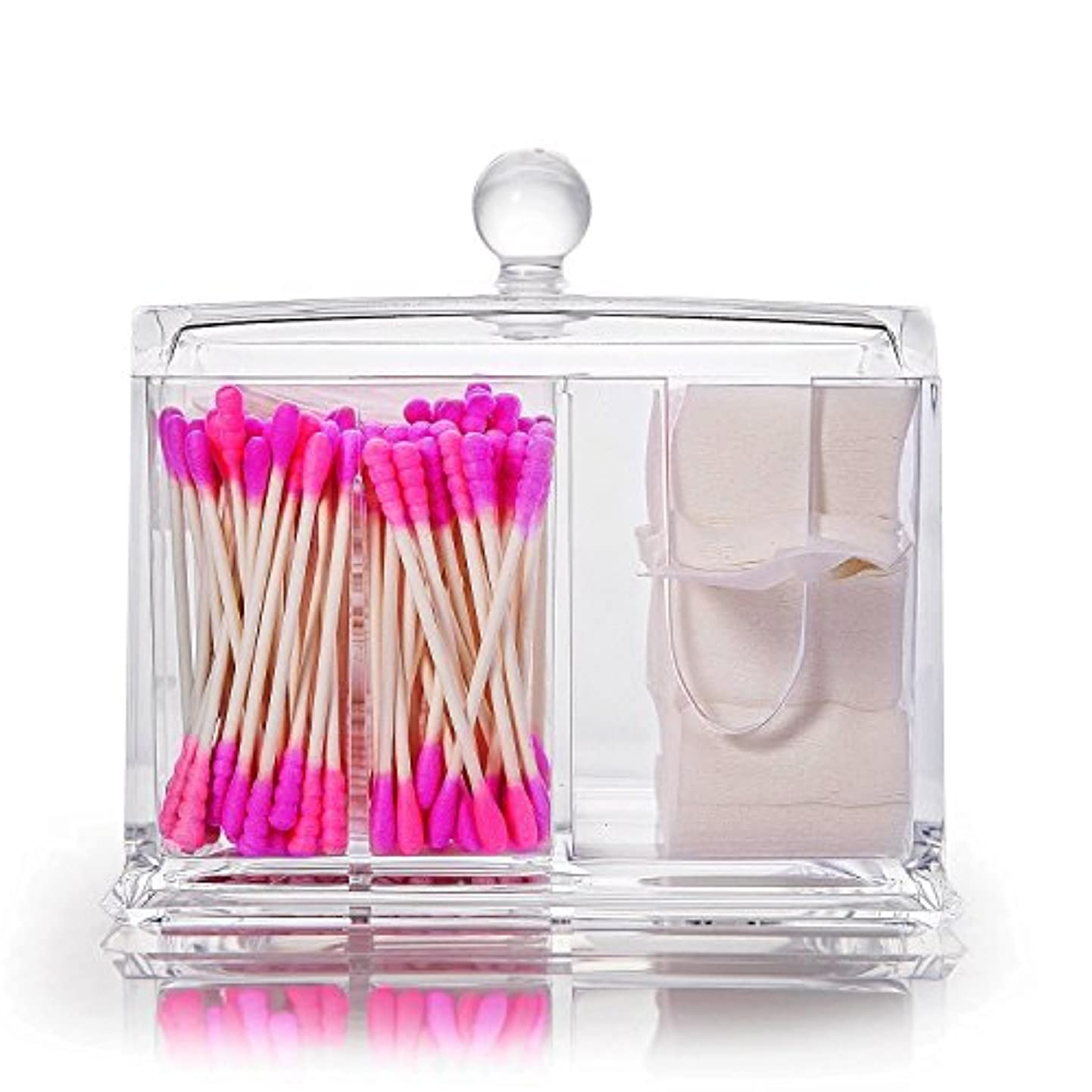 Neolly 綿棒ケース コスメボックス 収納ケース 蓋付き 小物入れ 綿棒入れ 化粧品 多機能 収納ボックス メイクケース ジュエリーボックス プレゼント アクリル製 透明