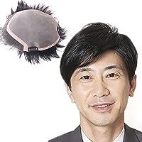 LARI-Lrj ウィッグ メンズ 部分ウィッグ男性用ウィッグ 医療用かつら wig 増毛 幅広い人口皮膚 ヘアピース 白髪隠れ 人毛100% 総手植え メンズ ショート トップカバー 黒色