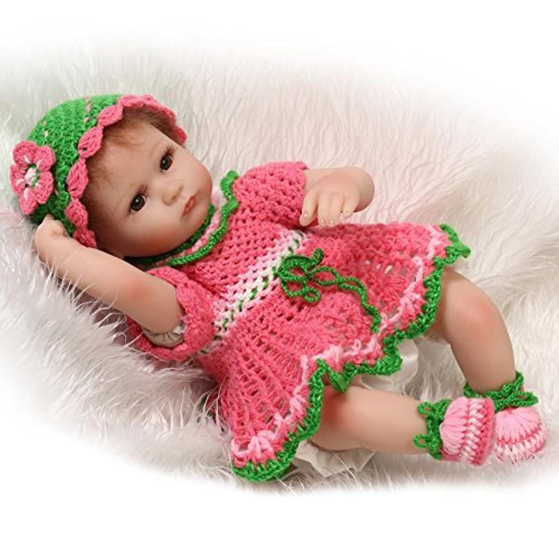 18インチ45センチメートルリボーンベビーソフトリコーンビニール赤いスカート磁気口ラプリー可愛いリアルな人形ドールおもちゃ子供の玩具やプレゼント