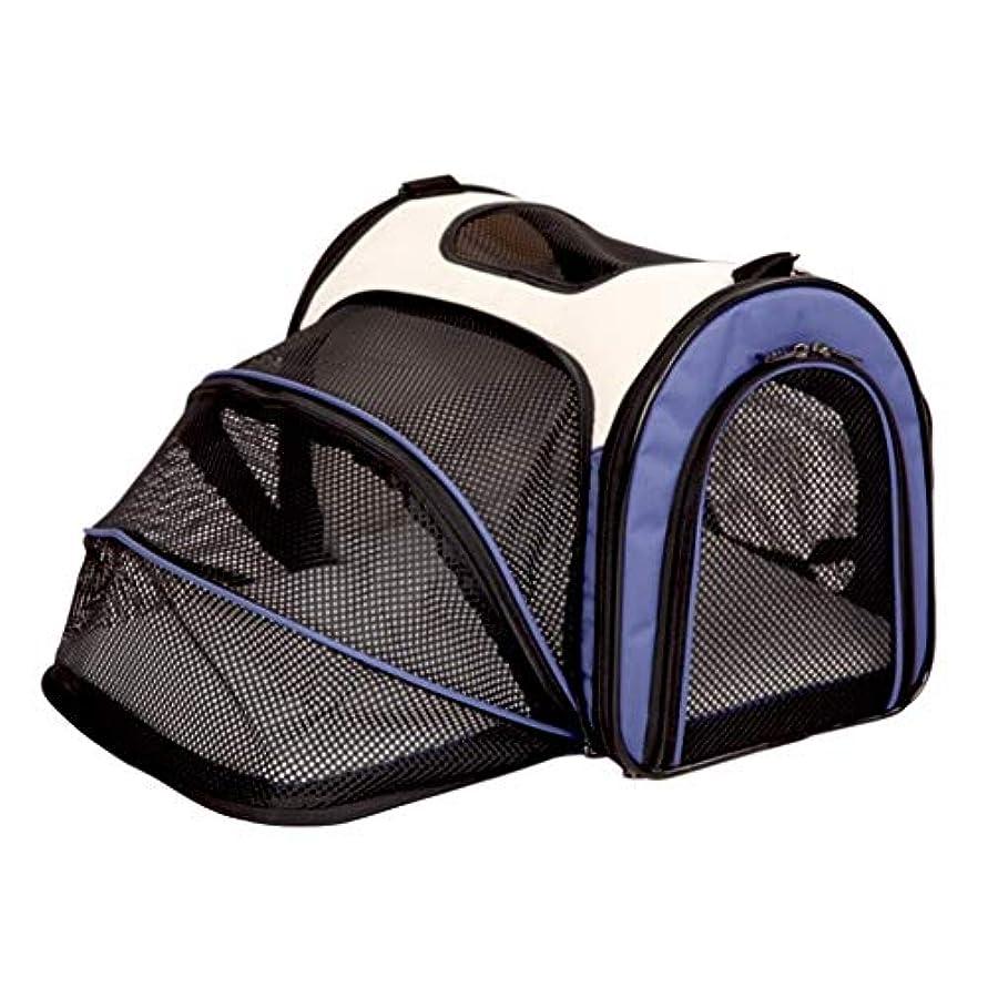 着るモディッシュアストロラーベトロリー ペットお出かけバッグ、猫バッグ、犬バッグ、折り畳み式犬バッグ、お出かけポータブル犬バッグ猫ケージ、ペット用品、ペットマーチングバッグ、ペットアウトトラベルバッグ (Color : Blue, Size : M)