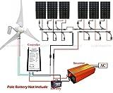 ECO-worthy 1400W キット:400W 風力発電機 & 6*150W 単結晶ソーラーパネル& 1.5KW インバーター