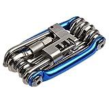 Asamoom 11 in 1 自転車工具セット 多機能修理ツール バイクメンテナンスセット 整備に必要な工具 携帯便利 7本六角レンチ T25リングスパナ マイナスドライバー プラスドライバー チェーンカッター (A1)