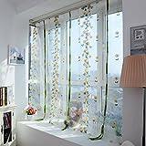QIN レースカーテン おしゃれ ボタニカル 植物柄 ポリエステル製 良い透け感 自然の風を通し 明るく 薄いカーテン 気持ちいい 安らぎを感じる風合い 新生活応援 取り外し簡単 80x100 2種類から選べる イエロー