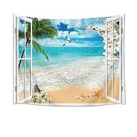 LB 砂浜の風景タペストリー 天晴れのビーチ インテリア 多機能壁掛け ファブリック装飾用品 おしゃれ モダンなアート 模様替え 部屋 窓カーテン 個性ギフト 新居祝い150x100cm