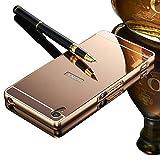 Sony Xperia Z3 用 スマホケース、Vandot 高級 スリム 薄型 スプリット タイプ 分離式 ハード アルミ 金属 フレーム PC 鏡面 保護 バック ケース 耐衝撃 防塵 シンプル おしゃれ-ローズゴールド