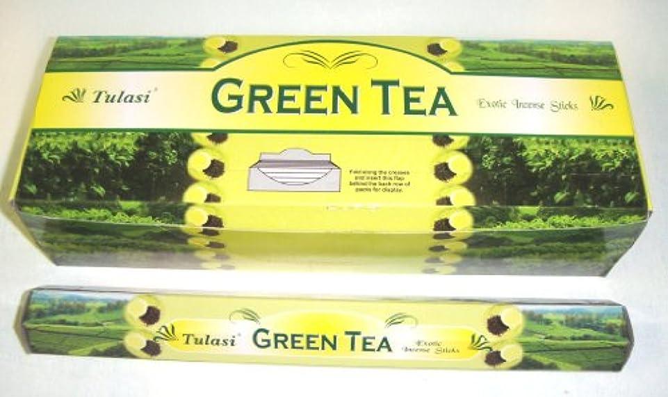 化学渇き眩惑するTulasi グリーンティー(GREEN TEA)香 スティック 6角(20本入り)×1箱