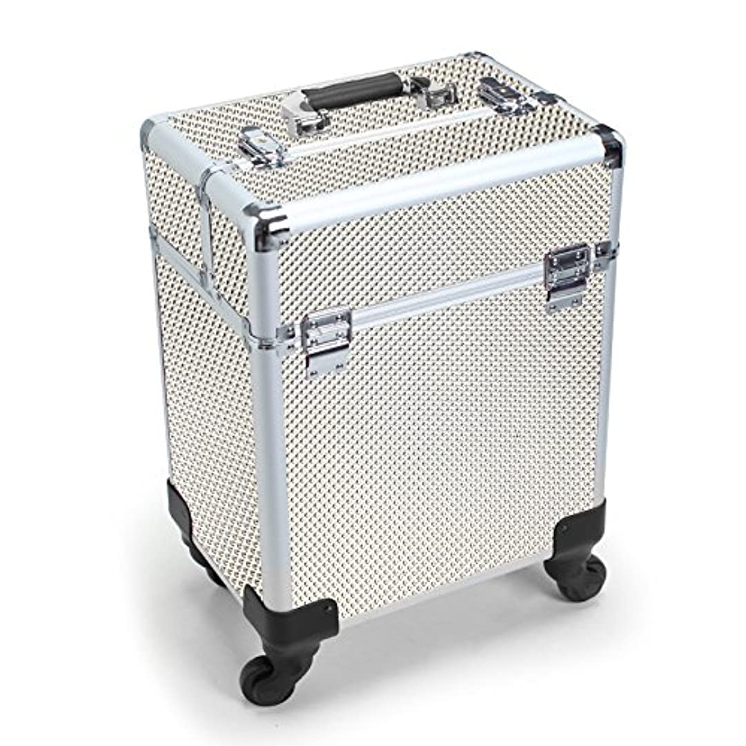 自殺間考えMCTECH キャリーケース レバー式 メイクボックス 美容師用 スーツケース型 化粧品 プロ用 薬箱 救急箱 収納 キャスター付き カギ付き 超大型メイクケース ジルバー