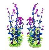 Govine 2Pセット プラスチック植物 人工水草 アクアリウム 水族館装飾 パープル