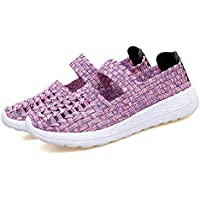 AUCDK Women Slip On Loafers Braided Breathable Casual Flats Lightweight Elastic Trainers Sport Water Shoes