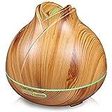 エッセンシャルオイルディフューザー、ウッドグレイン超音波加湿器、クールミスト空気清浄機 (色 : Light wood grain)