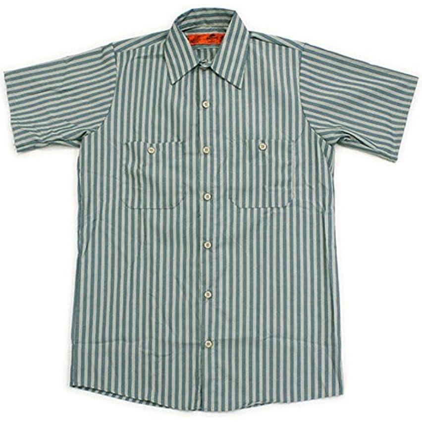 才能のある光沢広げるRED KAP(レッドキャップ)/SHORT SLEEVE STRIPE WORK SHIRTS(半袖ストライプワークシャツ) L GK:グリーン/カーキ