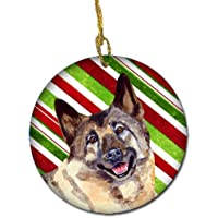Carolines Treasures LH9263-CO1 Norwegian Elkhound Candy Cane Holiday Christmas Ceramic Ornament