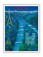 パリ、フランス - セーヌ川 - エッフェル塔 - エッフェル塔 - ビンテージな航空会社のポスター によって作成された ベルナール・ヴィユモ c.1963 - アートポスター - 23cm x 31cm