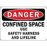 危険空間での安全ハーネスとライフラインの使用 メタルポスタレトロなポスタ安全標識壁パネル ティンサイン注意看板壁掛けプレート警告サイン絵図ショップ食料品ショッピングモールパーキングバークラブカフェレストラントイレ公共の場ギフト