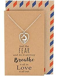Quanジュエリーvrischika Asana Scorpionポーズヨガ瞑想ペンダントネックレス、ヨガLovers Gift with Greeting Card