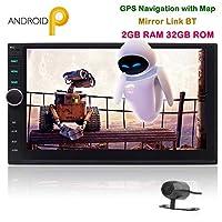 逆にカメラ付きダブルディンカーステレオ7インチのAndroid 9.0パイマルチタッチスクリーンカーラジオビデオプレーヤーGPSナビゲーション画面ミラーリング機能クアッドコア2GのRAM 32ギガバイトROM無線LANサーフィンインターネット
