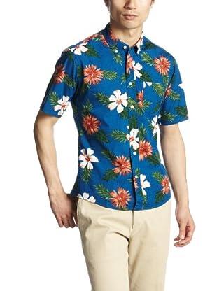Flower Print Short Sleeve Butttondown Shirt 1216-149-1904: Royal