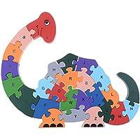 Eshylala木製恐竜番号とアルファベット子供パズル木製ジグソーパズルWinding恐竜おもちゃfor Toddlers /キッズ/子供/男の子/女の子