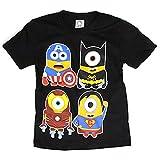 海外製品 ミニオンズ アメコミ ヒーロー パロディ プリント tシャツ XS ブラック [T479]キッズ メンズ レディース おもしろTシャツ