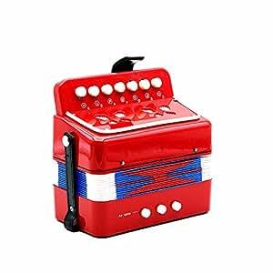 Andoer ミニ 小さいながらも本格的! 子供用 2ベース キッズ アコーディオン 7キー 知育玩具 音楽楽器 幼児楽器  大人も楽しめます♪ リズムバンド 3色選択可能