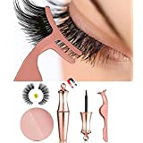 MOGOI False Eyelashes Kit With Magnetic False Eyelashes, Magnetic Eyeliner And Eyelashes Tweezers, No Glue Full Eye 5 Magnets Reusable Fake Eyelashes Natural Soft Eyelashes Extensions
